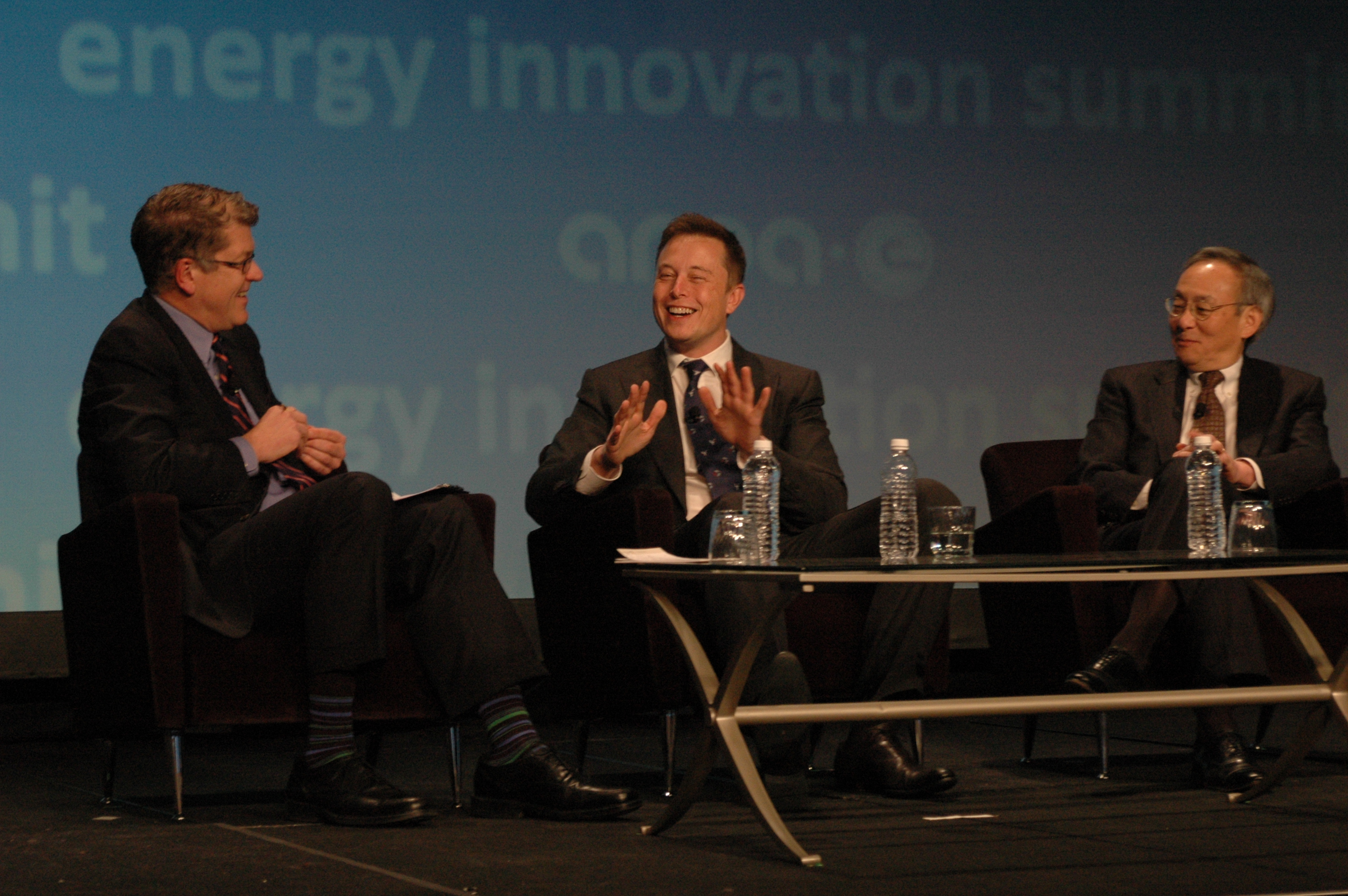 Elon Musk and Steven Chu at the 2013 ARPA-E Summit.